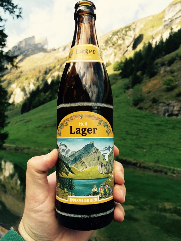 My much deserved Appenzeller beer. The background of this photo is the label on the bottle. So cool!